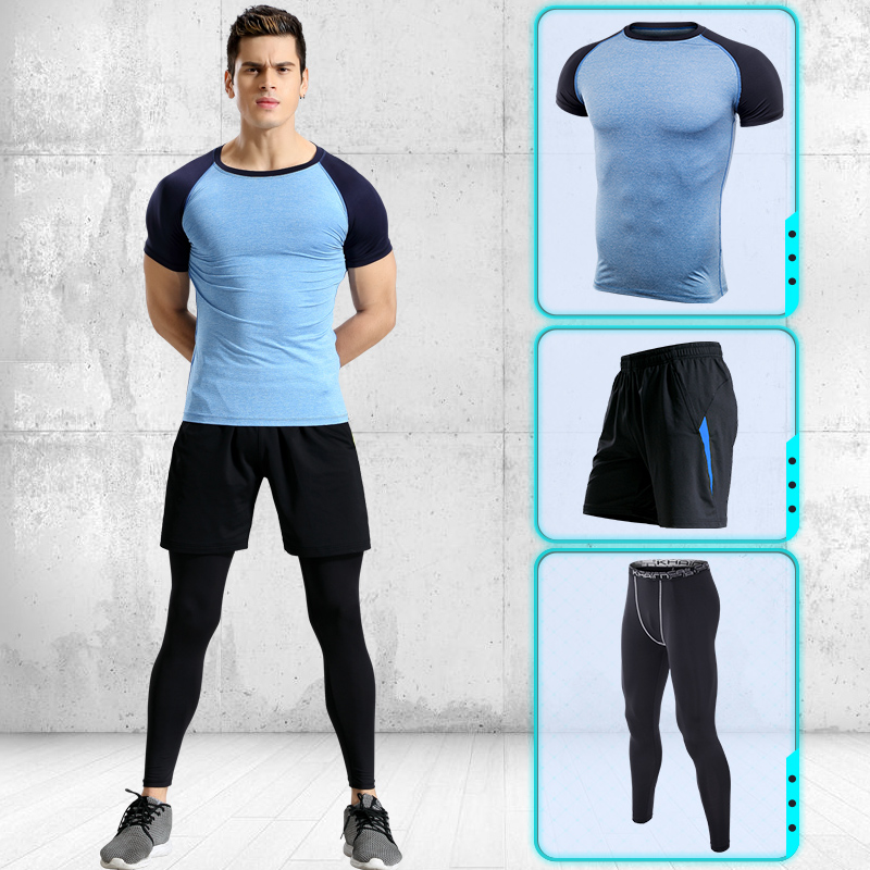 Image 5 - Men Running Pants T shirt Tights Shorts Black Stitching Lines Quick Dry Yoga Sportswear Sport Set Fitness Gym Basketball Jerseys-in Running Sets from Sports & Entertainment on AliExpress
