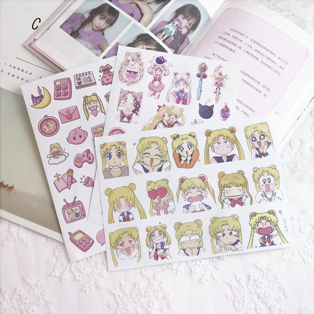 Kawaii Cartoon Sailor Moon Paper Stickers DIY Diary Stickers Scrapbooking For Planner Album Cute Stickers Stationery