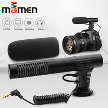 лучшая цена Mamen Condenser Video Recording Vlog Microphone for Camera Cellular Phone Computer Studio Microphone For Nikon Canon DSLR Camera