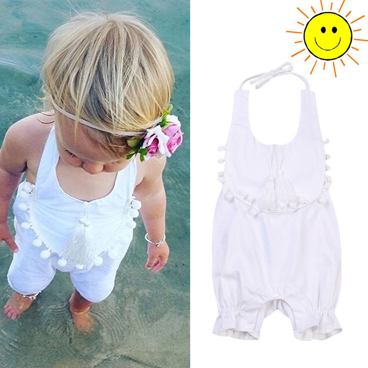 White Infant Newborn Baby Girls Romper Playsuit Outfits Sunsuit baby girl clothes bodysuit Clothes ...