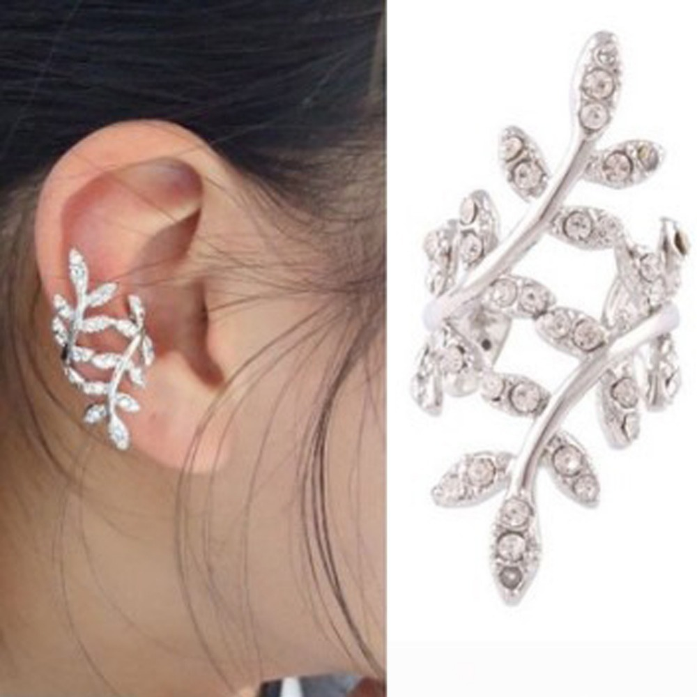 Korean Style Gold Silver Color  Cute Without Pierced Plum Flowers Ear Bones Drop Shipping Earrings золотые серьги по уху