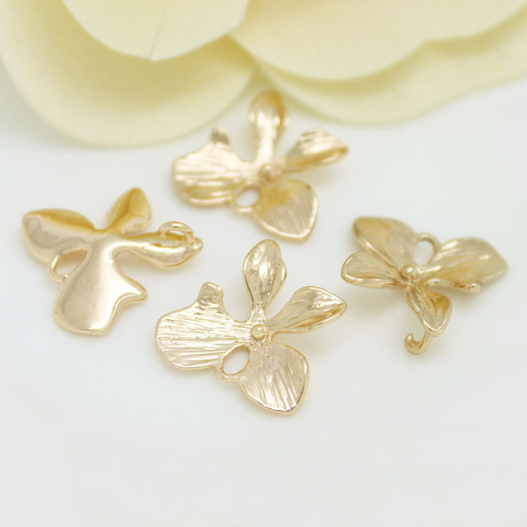 6PCS 16MM 24K Champagne Gold Color Plated Brass Flower Charms Pendants High Quality Diy Jewelry Accessories