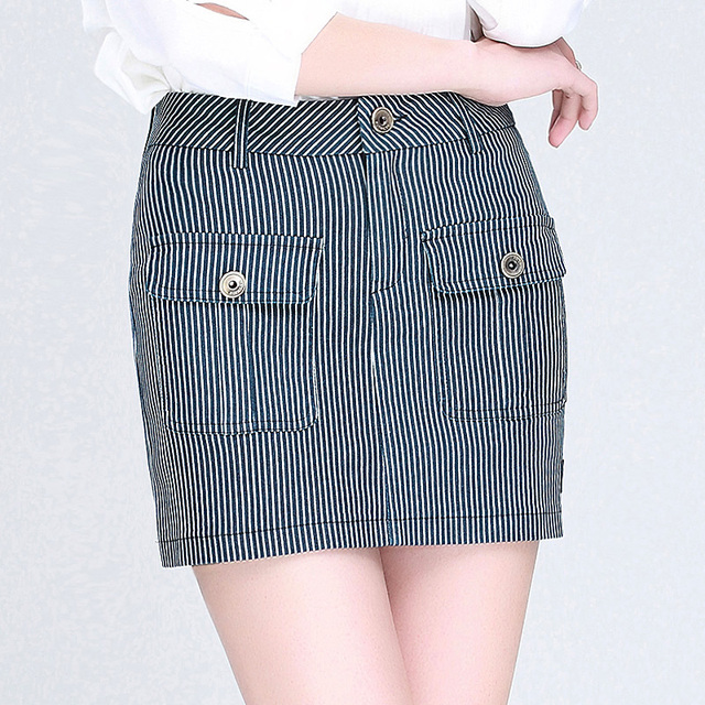 accad77eae Moda Para Mujer de Rayas Primavera Bolsillos Lápiz Paquete Cadera Falda de  Cintura Alta Minifalda Botton