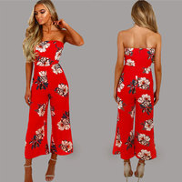 LOHILL 2017 New Women Rompers Strapless Floral Playsuit Ladies Summer Romper Long Jumpsuit Trousers