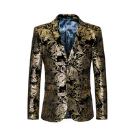 2019 New Fashion Gold Blazers Men Floral Suit Jacket Slim Fit Formal Party Wear Single Breasted Long Sleeves Male Blazers M 6XL