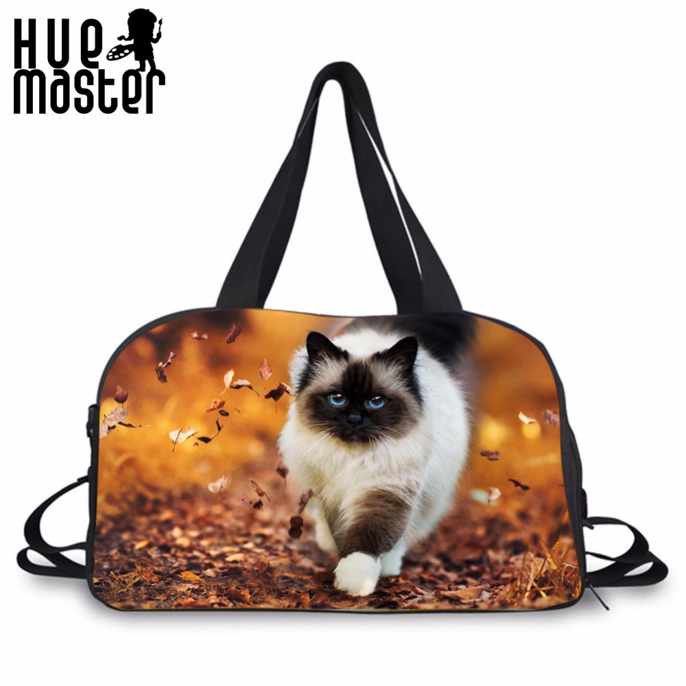 HUE MASTER Men Travel Bags Cat Printing Canvas Duffle Bag High Capacity Crossbody Independent Shoe Pocket Women Travel Totes