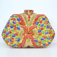 Colorful Crystal Clutch Bag Luxury Diamond Clutch Multi Color Evening Bag Trapezoid Shape Wedding Handcraft Women