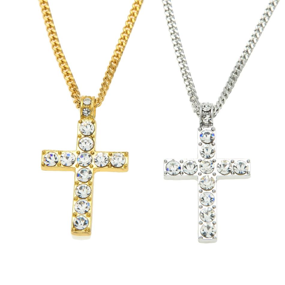 Hip Hop paduan warna emas lintas liontin kalung, Agama es berlian - Perhiasan fashion - Foto 6