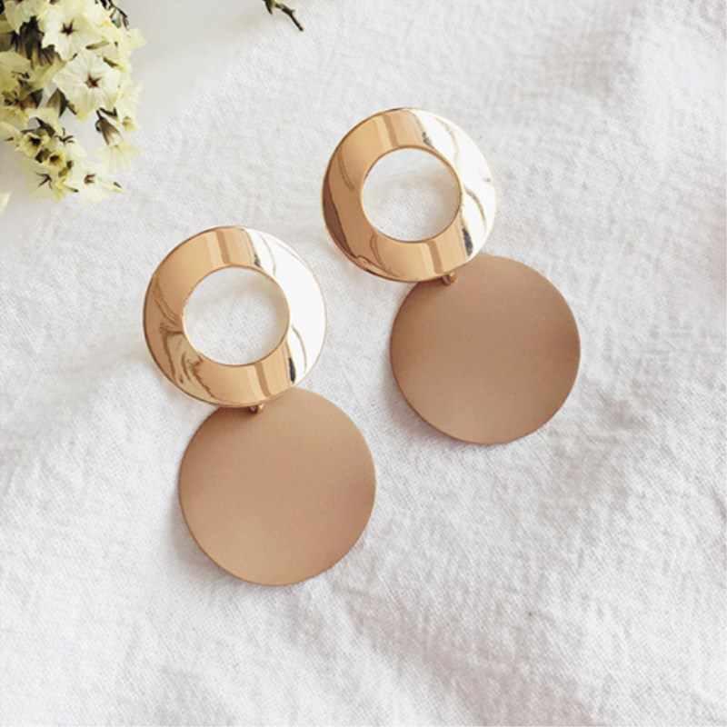 EK501 Hot Sale Simple Hollow Metal Round Pendant Earrings for Women Geometric Circle Dangle Earrings Jewelry Wholesale Orecchini