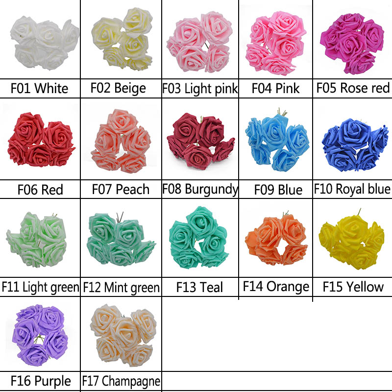 10 Heads 8CM Artificial Rose PE Foam Flowers DIY Bride Bouquet Wreaths Wedding Home Decorative Charming Flowers in Artificial Dried Flowers from Home Garden