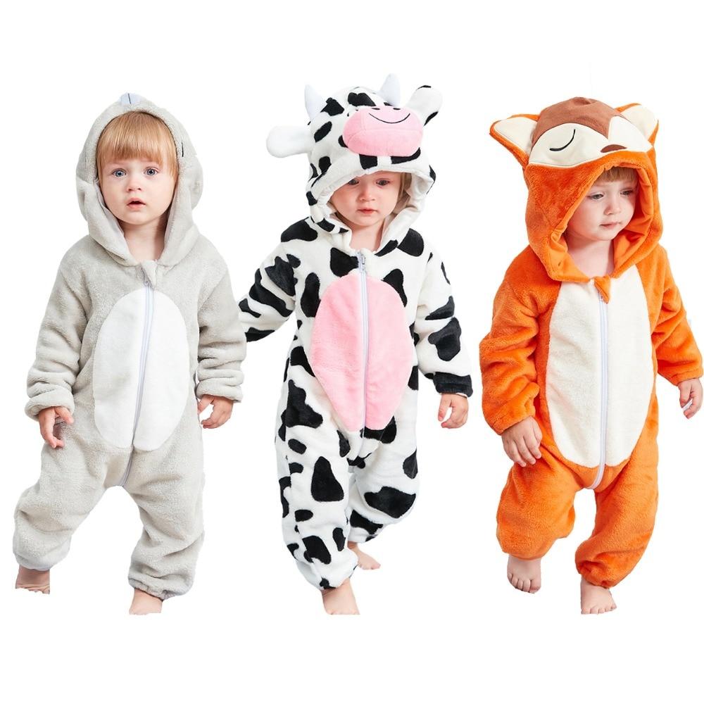 b32c702c8f Unisex-Baby Cartoon Animal One-Piece Hoodie Pajamas Flannel Unicorn  Jumpsuit Winter Warm Sleepwear Halloween Costume