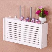 Yazi Wifi Router Storage Box Wood Shelf Wall Hangings Bracket Cable Organizer 52 25 9 5cm