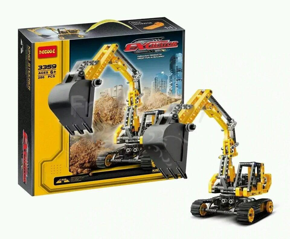 286pcs Excavator Model Building Blocks Bricks Set Educational Toy Children Gift Lepin Technology Compatible With Lego lepin 02012 city deepwater exploration vessel 60095 building blocks policeman toys children compatible with lego gift kid sets