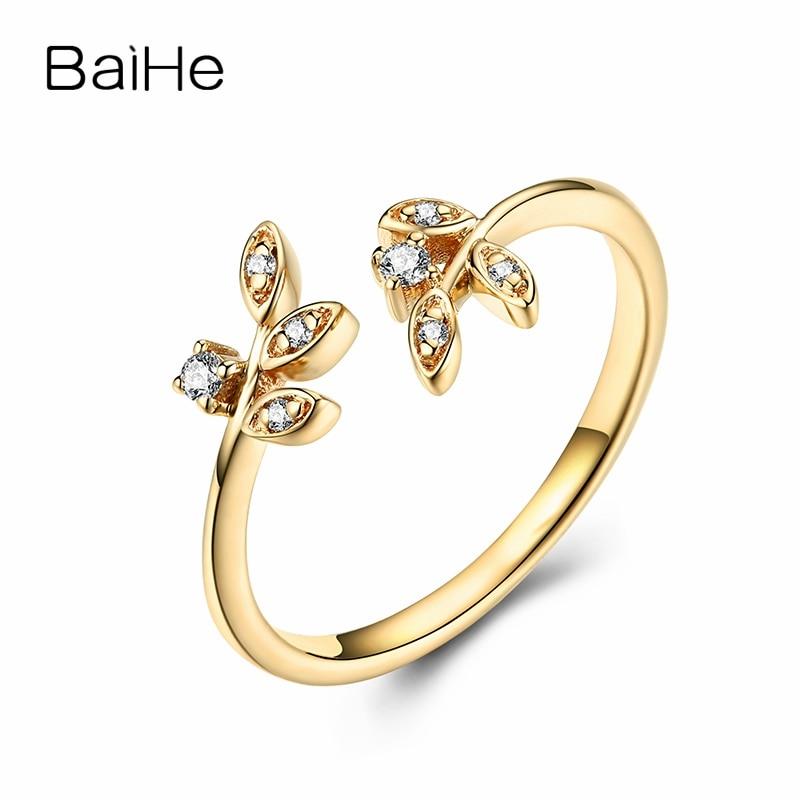 BAIHE Solid 14 К желтого золота (AU585) около 0.51ct H/SI круглый Полный Cut 100% из натуральной бриллиантами обручение Мода модное кольцо