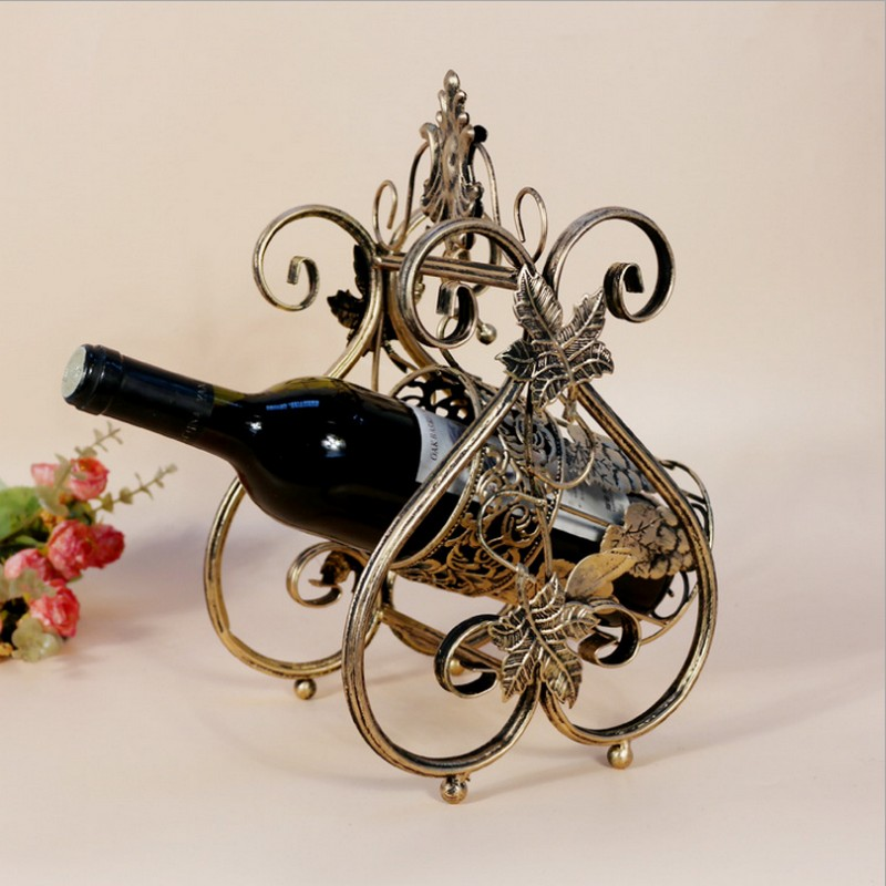 new village elegant antique color round leaf decor small metal wine bottle rack holder storage iron display decor kitchen - Metal Wine Rack