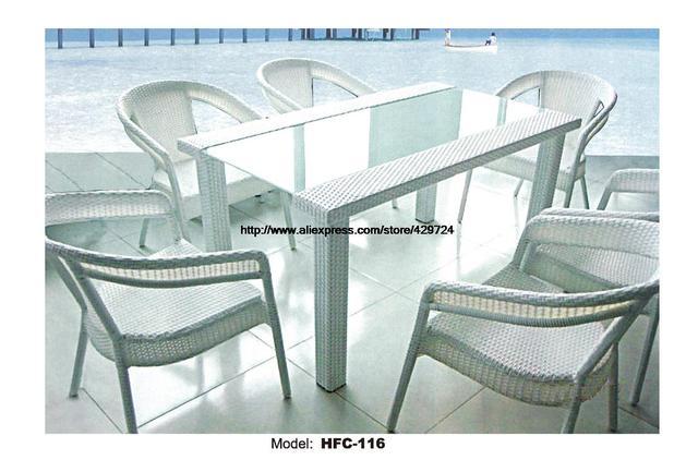 Große Größe Gartenmöbel Rechteck Glas Tisch 6 Rattan Stuhl Garten