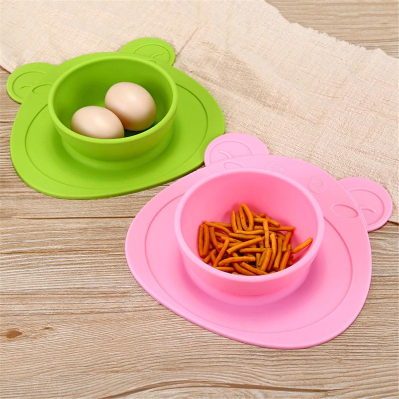 2018 TOP FASHION Kids One Piece Silicone Placemat Plate Dish Food Tray Table Mat for Baby Toddler 0525