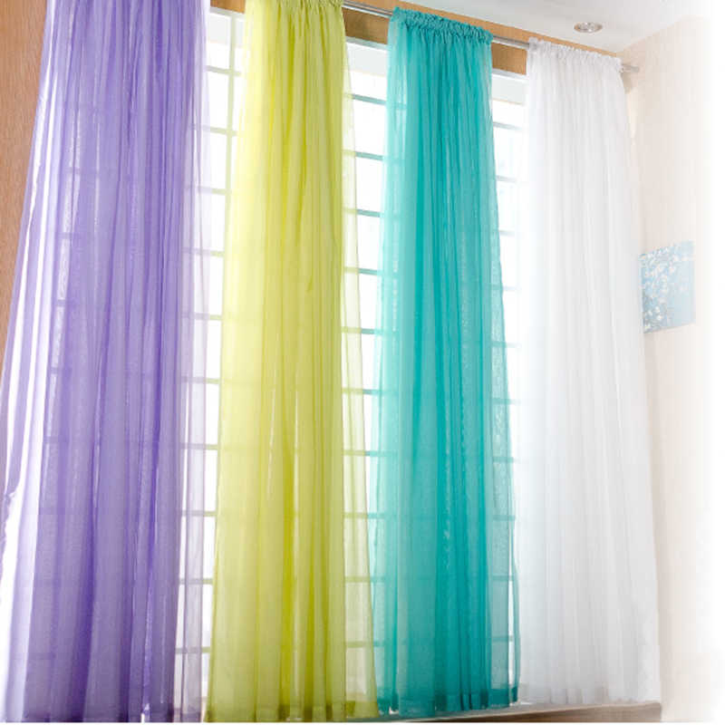 Rainbow Colors Pure Sheer Panels Door Window Curtains Tulle for Bedroom Drapes Voile Curtain For Home Decor Living Room Kitchen