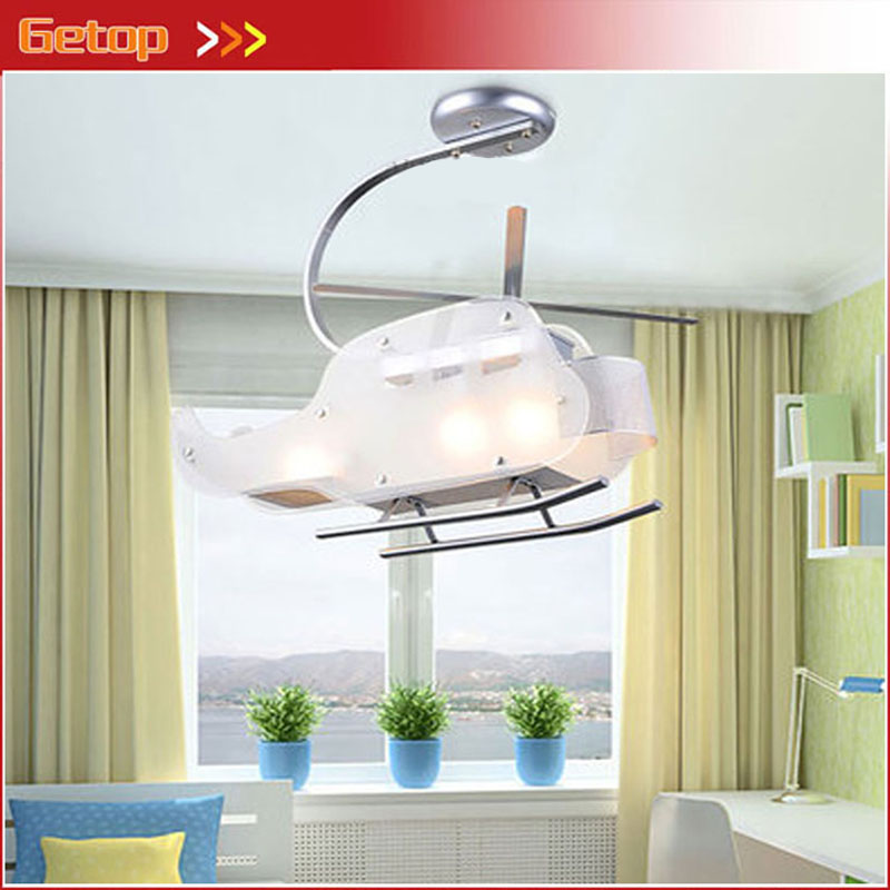 Cartoon Children Helicopter Shape LED Glass Ceiling Lamp Creative White Plane Lampshade Lights for Boys Bedroom Free Shipping