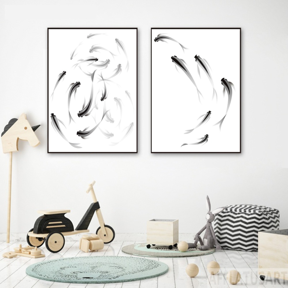 Fishes Canvas Posters Wall-Art Minimalist Decorative-Picture Painting Watercolor Home-Decor
