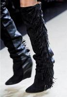2018; Лидер продаж; сапоги до колена из натуральной кожи белые сапоги на высоком каблуке танкетке без застежек с бахромой ботинки с круглым но