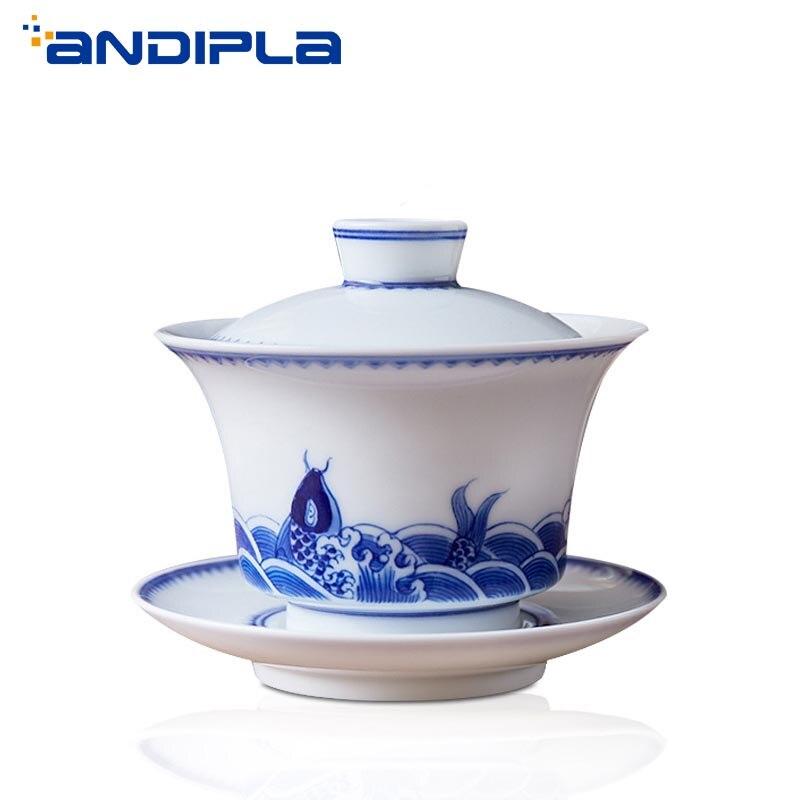 200 ml Jingdezhen céramique Gaiwan bleu et blanc porcelaine soupière peint à la main bol à thé maison Teaware Kung Fu thé Set cérémonie du thé