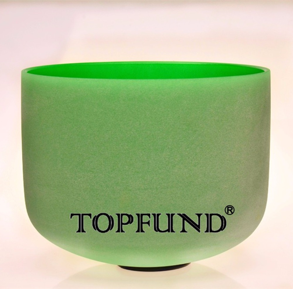 TOPFUND Green Colored Frosted Quartz Crystal Singing Bowl 432HZ Tuned F note Heart Chakra 10 With Free Mallet and O-Ring topfund red color perfect pitch c adrenals chakra frosted quartz crystal singing bowl 10 with free mallet and o ring