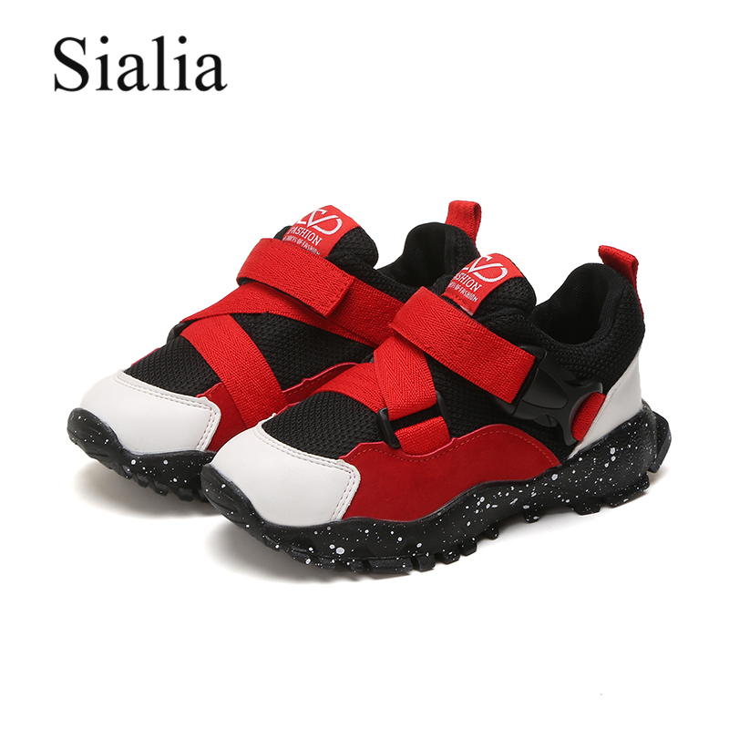 Sialia Children Shoes Girls Sneakers Running Kids for Boys Buckle-Strap Chaussure Enfant