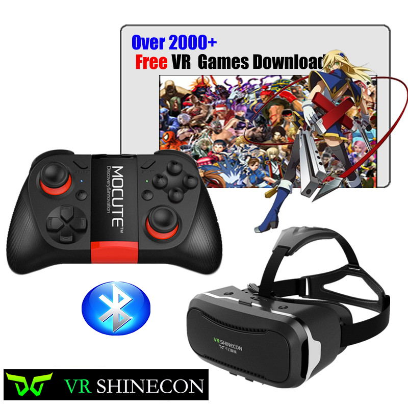 Hot ! VR shinecon ii 2.0 Virtual Reality 3D Glasses Google Cardboard 2.0 Pro Version VR Glasses+Bluetooth Remote Control Gamepad