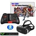 Hot! shinecon vr ii 2.0 óculos de realidade virtual 3d google papelão 2.0 pro versão vr óculos + controle remoto bluetooth gamepad