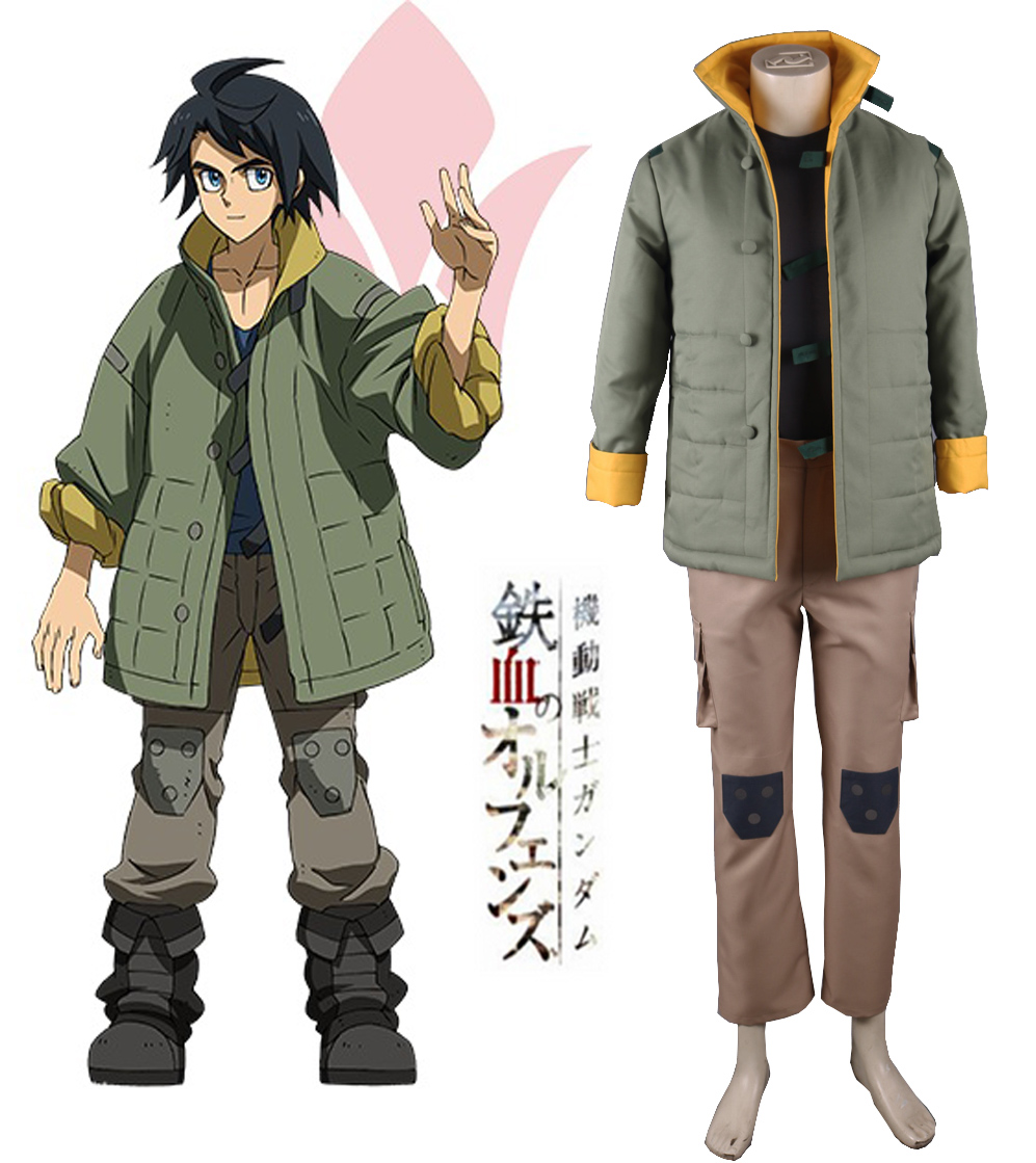 Free Shipping Mobile Suit Gundam: Iron-Blooded Orphans Tekkadan Iron Flower Mikazuki Augus Uniform Anime Cosplay Costume