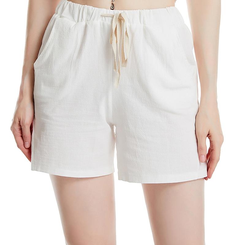 Summer Women's Elastic Wasit Home Shorts Loose Casual Shorts Trousers Feminino Pocket Shorts Women Cotton Linen Shorts
