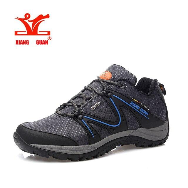 XIANGGUAN Pria Berkualitas Tinggi Tahan Air Kulit Asli Sepatu Hiking  Climbing Luar Sepatu Sneakers Kenyamanan Tahan d267c50058