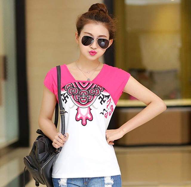 13f700894b4 Charm Printed Lady Fashion Cotton T-Shirts Plus Size L-5XL Patchwork Design Sweet  Girls Summer Tops 2015 Brand Women Loose Tees
