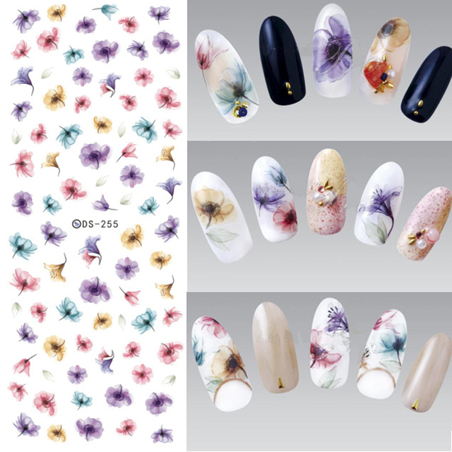 3pcs Flower Nail Stickers Diy Design Water Transfer Decal Nails Art Sticker Colorful Purple Fantacy