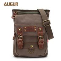 Augur 2019 Canvas Leather Crossbody Bag Men Military Army Vintage Messenger Bags Shoulder Bag Casual Travel school Bags 3033