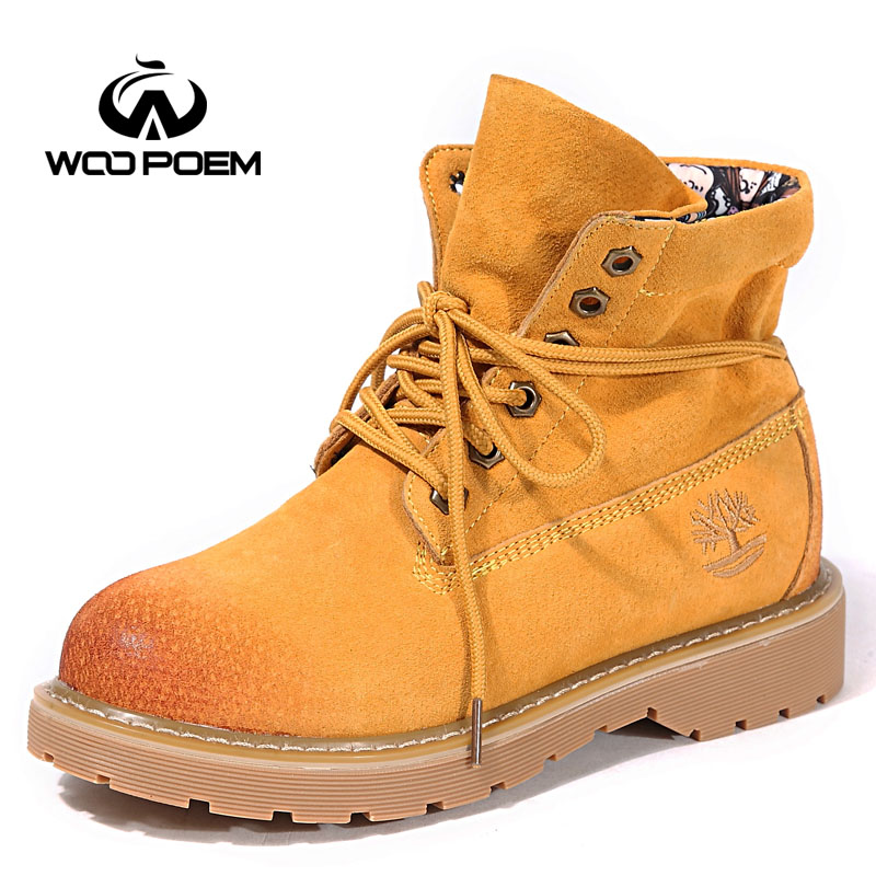 WooPoem Winter Shoes Woman Genuine Leather Boots Med Heel Ankle Motorcycle Boots Classic Lace-Up Women Boots Winter Boots 2791 woopoem brand winter shoes woman genuine leather boots low flat heel ankle boots rivet motorcycle boots retro women boots 510 l1