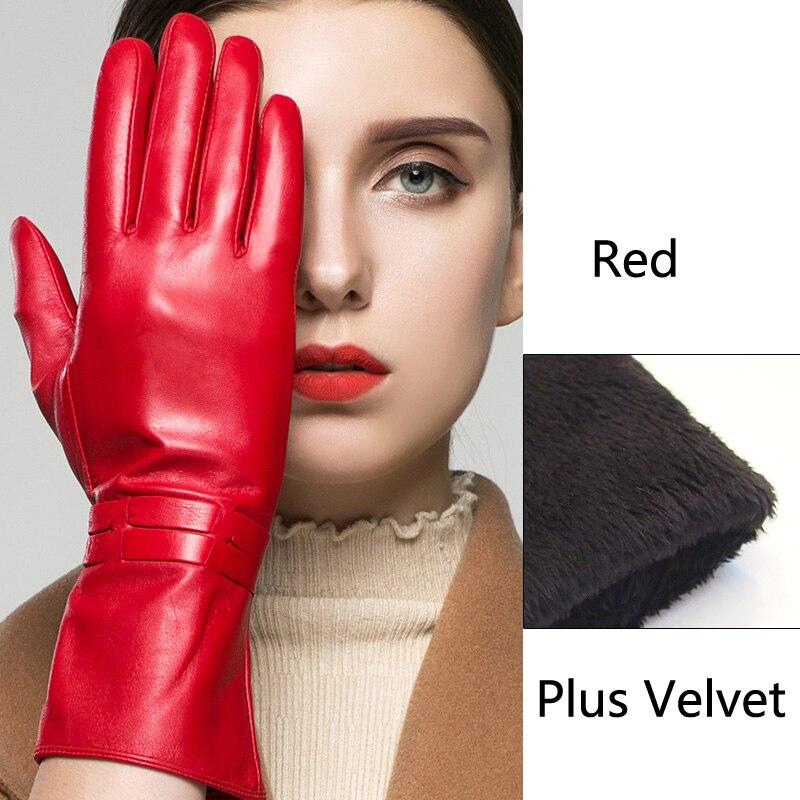 Gants en cuir pour dames pour la mode hiver longs gants chauds Plus velours mitaines femme conduite en plein air gants en peau de mouton pour les femmes
