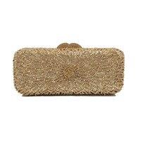 Hot Sale Single Rhinestone Minaudieres Evening Bag Newest Elegant Crystal Clutch Wedding Party Dinner Bags