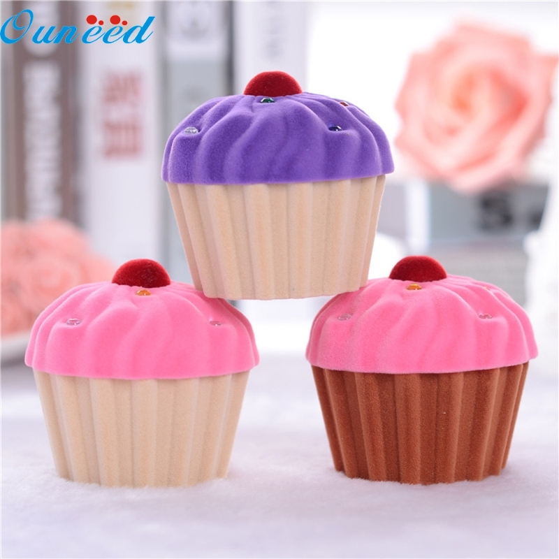 Ouneed Happy Home Cute Cake Cup Shape Velvet Ring Box Earring Pendant Locket Necklace Jewelry Box 1 Piece цена