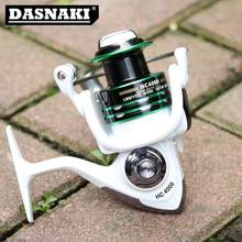DASNAKI HC3000-7000 Series White/Green 12+1 Ball Bearings Carp Fishing Reel Carbon Fiber Drag 5.2:1/5.1::1 Sea Spinning Reel