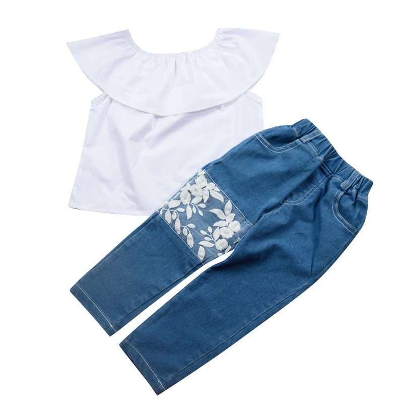 1-6T 2018 Summer New Fashion 2PCS Girls Short Top+Denim Lace Trousers Suit Girls Word Shoulder Tee+Jeans Suit Baby Girls Set M