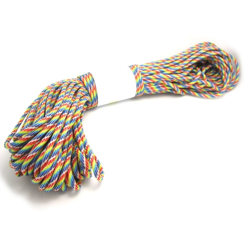 Parachute Cord with 7 strands, 550 lbs, 100 ft.Rainbow