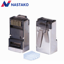 NASTAKO – connecteurs rj45 Cat6 Cat5e noirs, connecteurs de réseau rj45 type fendu, bornes modulaires blindées en métal stp