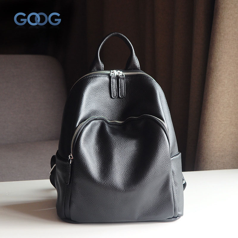 New Korean version of the first layer of cowboy shoulder travel backpack fashion casual oval leather simple street beat new korean version of the first layer of leather pillow bag large lychee pattern handbag shoulder messenger fashion leather leat