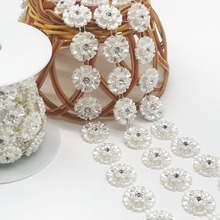 SINUAN Single Row Rhinestone Chain Glass Rhinestone ABS Pearl White Tape Rhinestone Chain Belt 1Yard Accessories For Sewing