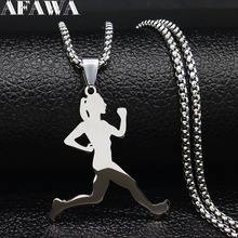 2019 Fashion Stainless Steel Necklace for Women Jewelry Silver Color Running Women Necklaces Jewelry collares mujer N18908 chereda pendant necklace stainless steel figure jewelry necklaces for women jewelry collares 3 color jewelry accessories