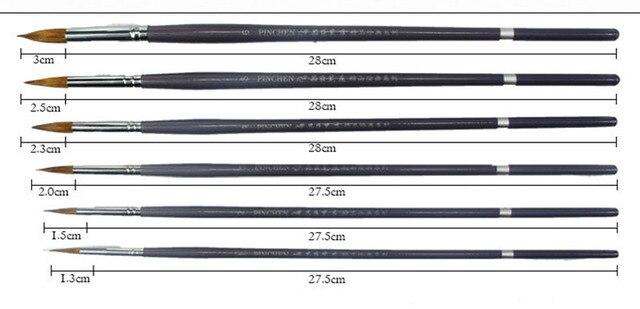 6 teile satz lange stange wiesel haar spitzen runde pinsel acryl