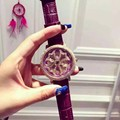 Mashali Watch Women Watches Lady Shining Rotation Dress Watch Big Diamond Stone Wristwatch Lady Genuine Leather Watch
