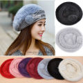 HOT! Women's Real Genuine Rabbit Fur Winter Warm Hat Beanie Hat Cute Cap